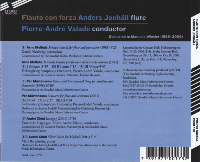 Flauto con forza, Anders Jonhäll, flute, conducted by Pierre-André Valade, details
