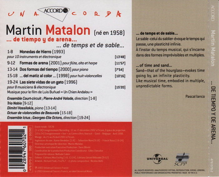 Music by Martin Matalon, conducted by Pierre-André Valade, details
