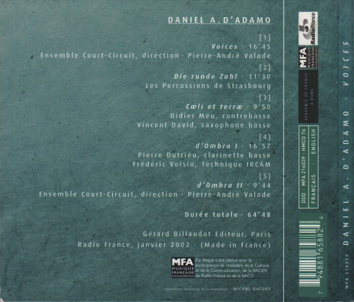 Music by Daniel D'Adamo, conducted by Pierre-André Valade, back-cover