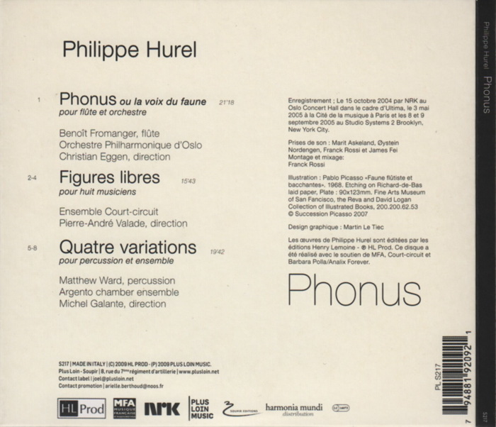 Music by Philippe Hurel, conducted by Pierre-André Valade, Christian Eggen, Michel Galante, details