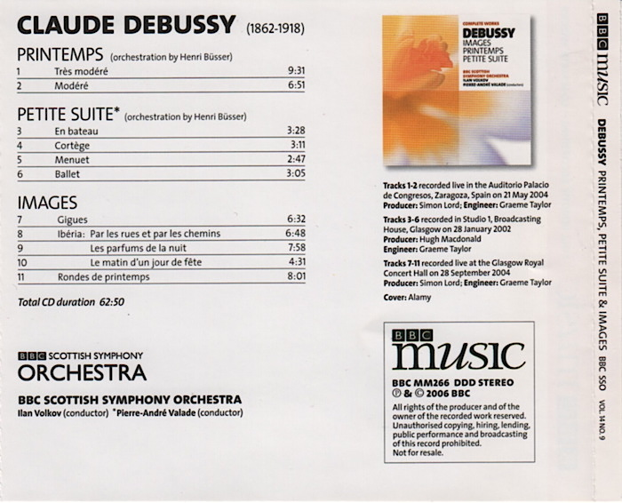Music by Claude Debussy, Complete Works vol.14 No.9, conducted by Pierre-André Valade and Ilan Volkov, details