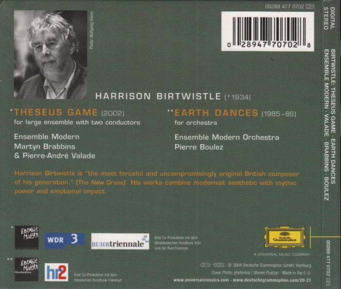 Music by Harrison Birtwislte, Ensemble Modern, conducted by Pierre Boulez, Pierre-André Valade, Martyn Brabbins, details