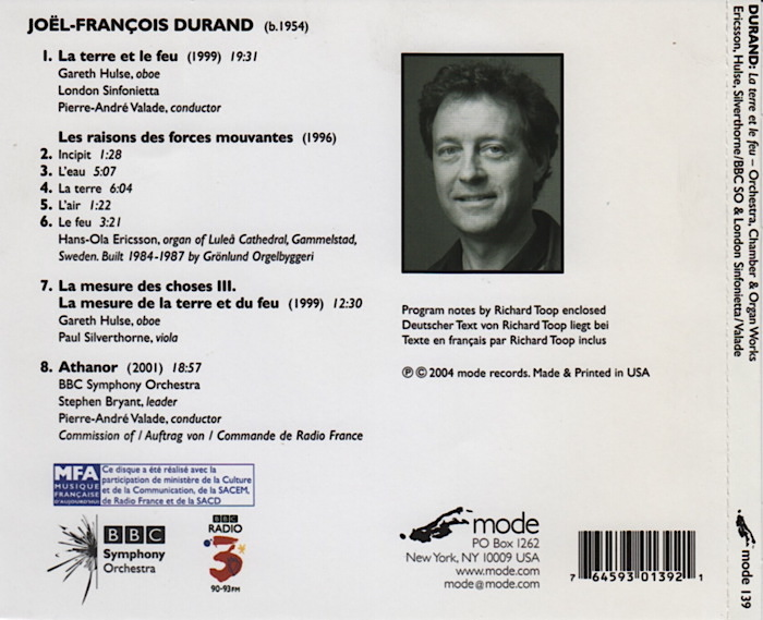 Music by JF. Durand, conducted by Pierre-André Valade, details