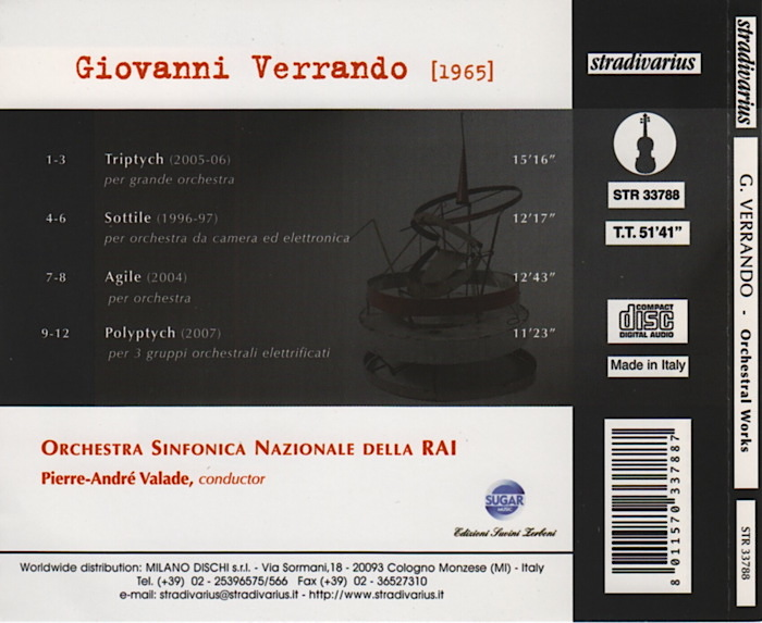 Music by Giovanni Verrando, RAI Turin SYmphony Orchestra, conducted by Pierre-André Valade, détails