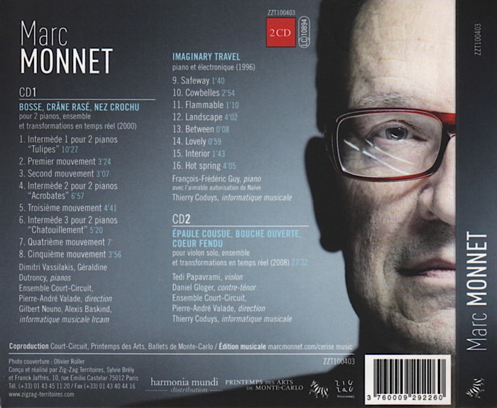 Music by Marc Monnet, conducted by Pierre-André Valade, details