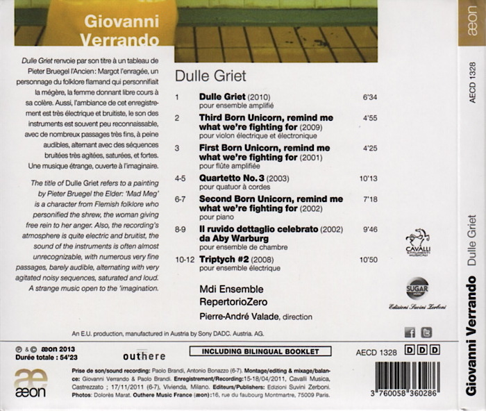 Music by Giovanni Verrando, Dulle Griet, conducted by Pierre-André Valade, details