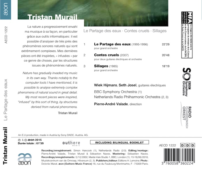 Music by Tristan Murail, BBCSO, NRP, conducted by Pierre-André Valade, details