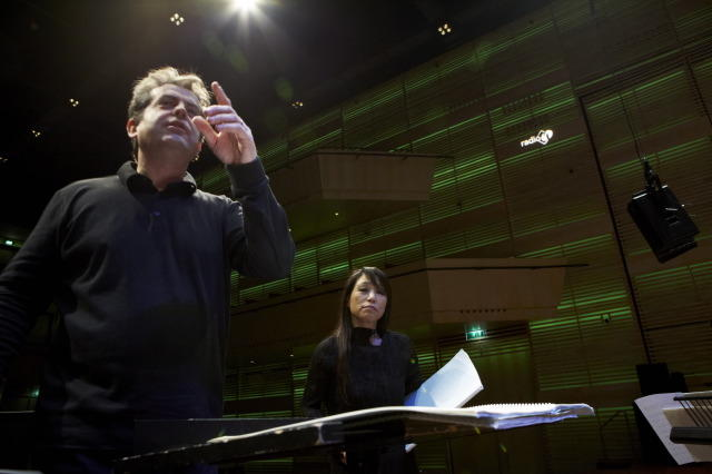 Pierre-André Valade, with Unsuk Chin, rehearsing with Asko-Schönberg at Musiekgebouw in Amsterdam, Oct. 2011