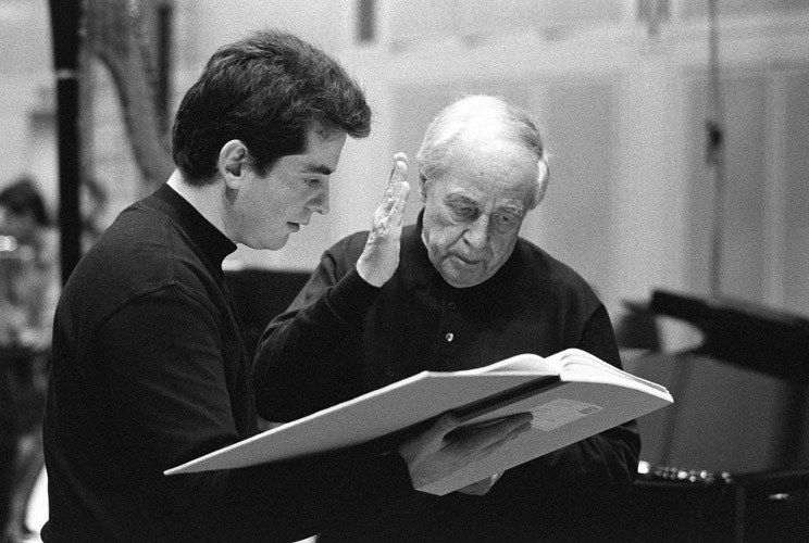 Pierre Boulez and Pierre-André Valade at Ircam, Paris 1999