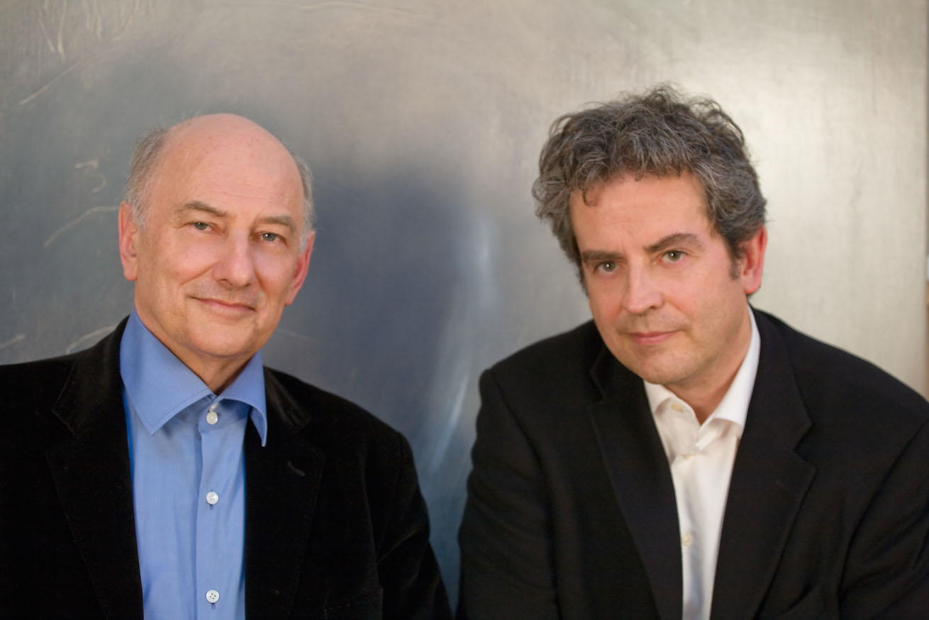 Pierre-André Valade with compositeur Hugues Dufourt, before a work by French painter Agnès Desplaces, Paris, June 2012