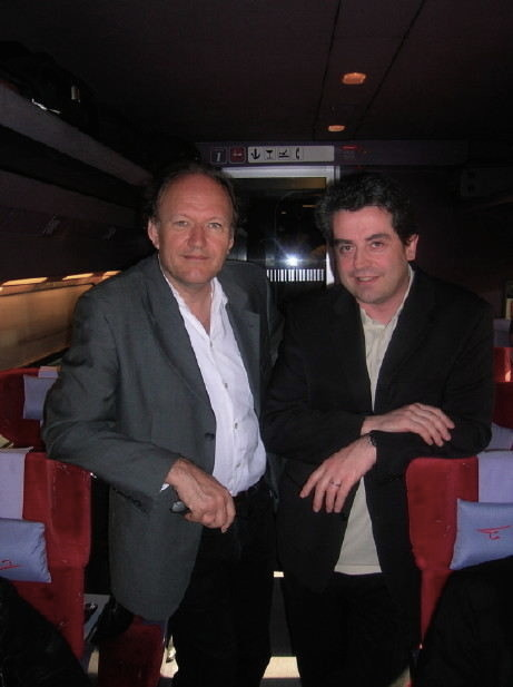 Pierre-André Valade with composer Philippe Hurel, Thalys fast train between Cologne and Paris, 2007